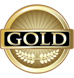 Gold label icon vector