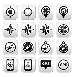 GPS navigation wind rose compass buttons set vector image vector image