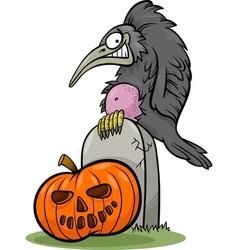 halloween pumpkin with crow cartoon vector image vector image