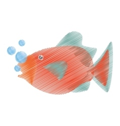 Hand drawing orange fish marine ecosystem life vector
