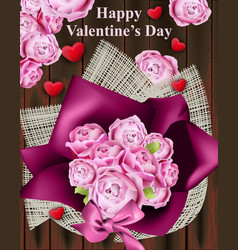 happy valentine day card with roses bouquet vector image