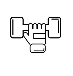 Line dumbel with glove to do exercise vector
