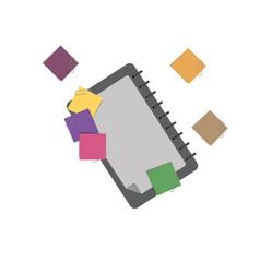 notebook paper notepad note white background flat vector image