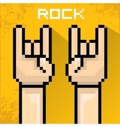 Pixel art hand sign rock n roll music vector