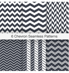 set 6 chevron seamless patterns monochrome color vector image vector image