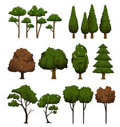 Set of trees for landscape on white background vector