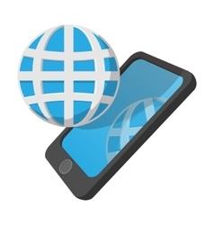 Smartphone with globe cartoon icon vector