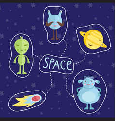 Space cartoon style icons set vector