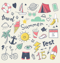 summer vacation freehand hand drawn doodle vector image