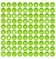 100 guns icons set green circle vector