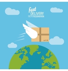 Package wings and planet icon delivery and vector