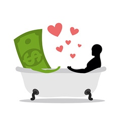 Love of money dollar and man in bath man and cash vector