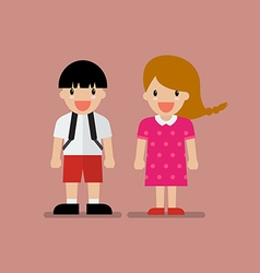 Cute boy and girl vector