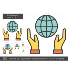 Environment protection line icon vector