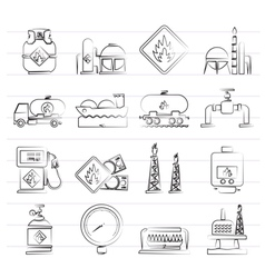 Natural gas fuel and energy industry icons vector