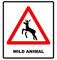 Beware deer crossing warning traffic signs vector