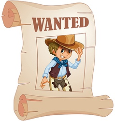 A special paper with an image of a wanted man vector