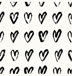 Hand painted hearts pattern vector