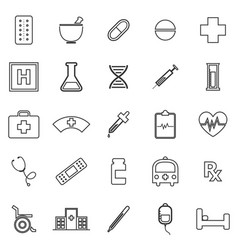 Pharmacy line icons on white background vector