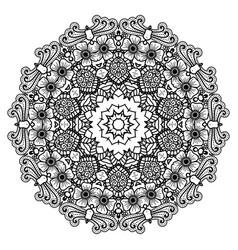Round mandala black and white vector