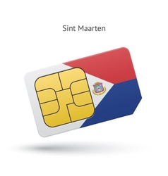 Sint maarten mobile phone sim card with flag vector