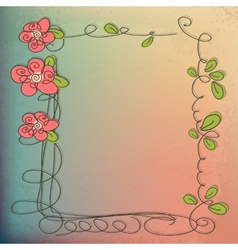 Stylish floral background hand drawn retro flowers vector