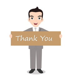 Businessman holding thank you note vector