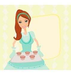 Housewife serving cookies vector