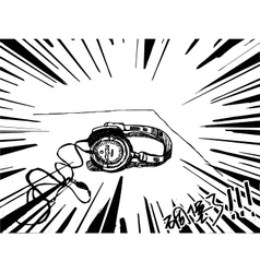 Headphones drawing black and white vector