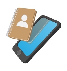 Smartphone with address book cartoon icon vector