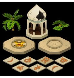 Oriental theme with gazebo and signs of the zodiac vector image