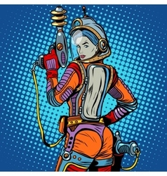 Girl space marine science fiction retro vector