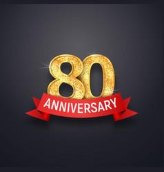 80 th years anniversary logo template eightieth vector