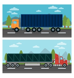 Cargo transportation truck and trailer delivery vector