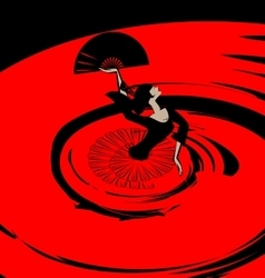 abstract image of flamenco with fan vector image