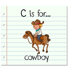 Flashcard letter c is for cowboy vector