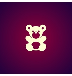 Teddy bear plush toy flat icon vector