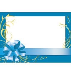 Blue floral frame with white center vector
