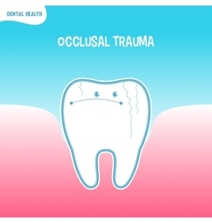 Cartoon bad tooth icon with occlusal trauma vector
