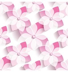 Background seamless pattern with pink sakura vector