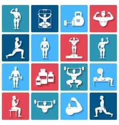 Bodybuilding icons set vector