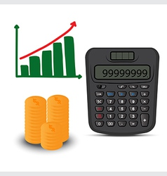 calculator and business graph vector image vector image