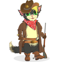 Cat cowboy sheriff wild west vector