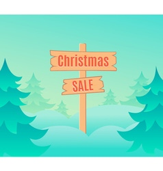 Christmas sale design template with signboard vector image