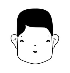 Contour man head with face and hairstyle vector
