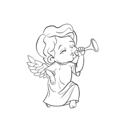 Cute baby angel making music playing trumpet vector image