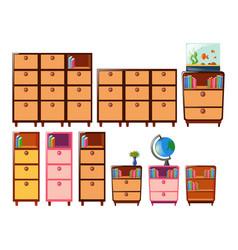 Different design of bookshelves vector