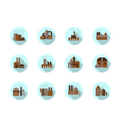 Factories round flat blue icons set vector