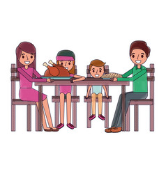 family smiling gathered sitting for dinner vector image