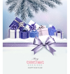 Holiday Christmas background with presentsand a vector image vector image